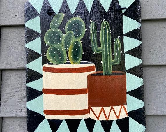 Southwestern Tile, Cactus slate tile, Painted slate, Hand painted slate, Aztec tile, Aztec decor, Southwestern wall hanging, Slate plaque