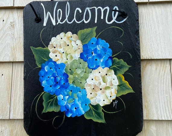 Porch welcome sign, Summer slate sign, Slate Garden sign, Porch decor, Hydrangea welcome plaque, door hanger, Slate welcome sign, slate sign