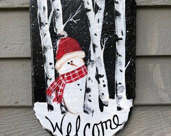 Snowman Slate welcome sign, snowman slate, Slate sign, Winter welcome sign, Welcome plaque, Snowman door hanger, slate tile, Painted Slate