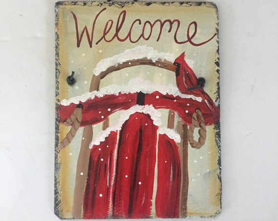 Winter slate door hanger, painted slate, Winter slate sign, Welcome plaque, Welcome sign, Hand painted slate, Personalized sign, slate sign
