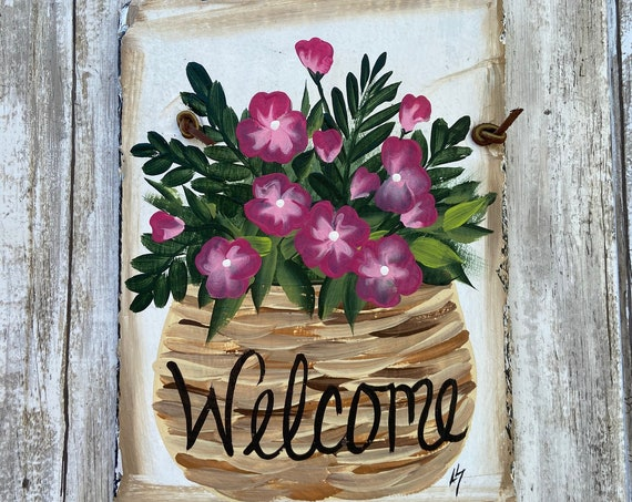 Slate Plaque, Hand Painted Slate Welcome Sign, Welcome sign, Garden decoration, deck decor, Porch decor, Door decor, painted slate sign