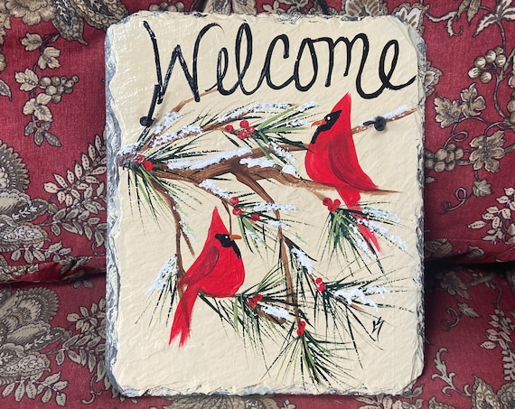 Slate welcome sign, Painted slate sign, Winter welcome sign, Red Cardinal sign, Slate sign, Winter door hanger, Welcome plaque