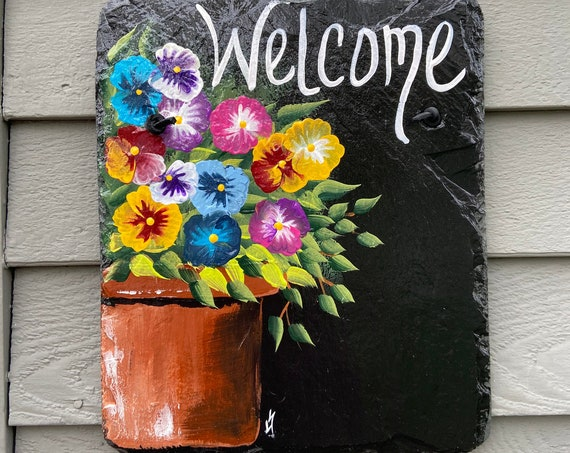 Hand Painted Slate Welcome Sign, Spring door hanger, Pansies Welcome sign, Garden decoration, outdoor decor, deck decor, painted slate