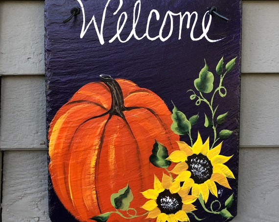 Fall slate sign, Fall outside decoration, Slate tile plaque, Pumpkin Slate welcome sign, Fall decor, Painted welcome sign, painted slate