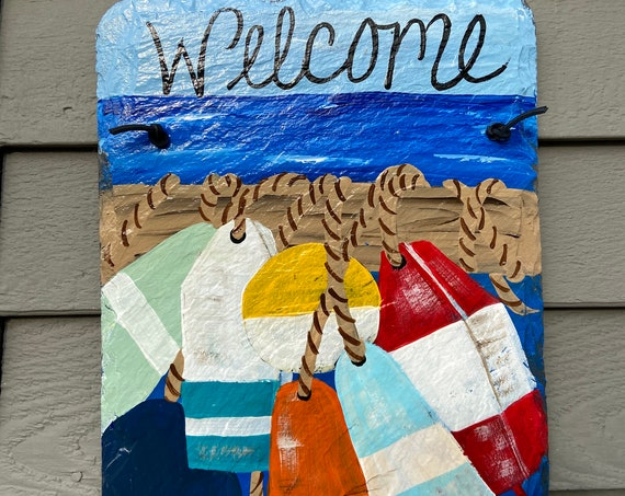 Nautical Welcome sign, Painted slate, Door Hanger, Seaside decor, Beach decor, Nautical decor, Hand Painted summer slate, slate sign
