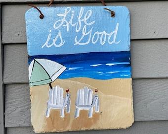 Summer slate sign, Painted slate, Beach house decor, front door decor, Beach sign, Coastal decor, Beach decor, Beach slate sign, Beachy