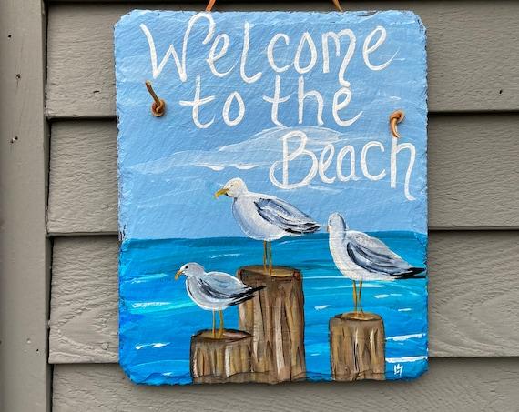 Summer slate sign, Painted slate, Beach house decor, front door decor, Beach sign, Coastal decor, Beach decor, Beach slate sign