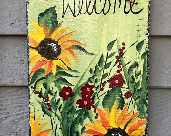 Hand Painted slate welcome sign, Painted slate, porch decor, Sunflower door hanger, sunflower decor, Garden decor, welcome sign, Fall decor