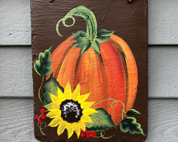 Painted slate sign, Fall slate sign, Autumn welcome sign, Fall welcome sign, Fall door hanger, Fall door decor, Porch decor, Slate sign