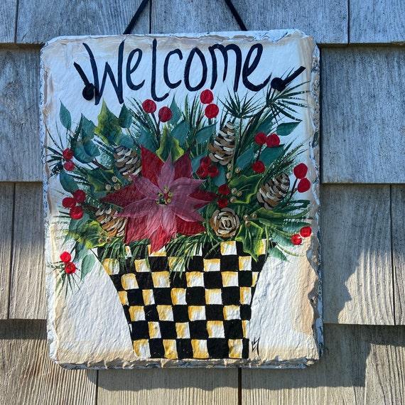 Painted black & white check Winter greens Slate, Welcome sign, Winter door hanger, Winter Slate Sign, Slate sign, winter welcome plaque