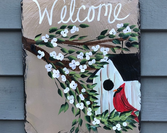 Slate Welcome Sign, Painted Slate, Front door decor, Slate door hanger, spring door hanger, Front Door decor, Garden decor, porch decor