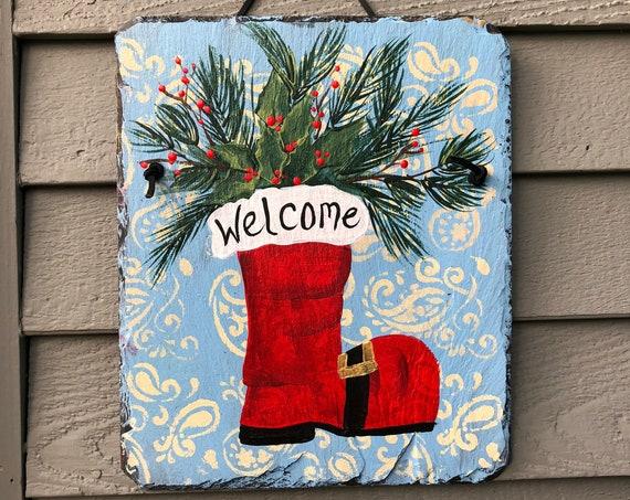 Christmas Decor for Front door, Santa's boot Welcome Sign, Painted Slate Door hanger, Painted Slate, Holiday Door decor, porch decor
