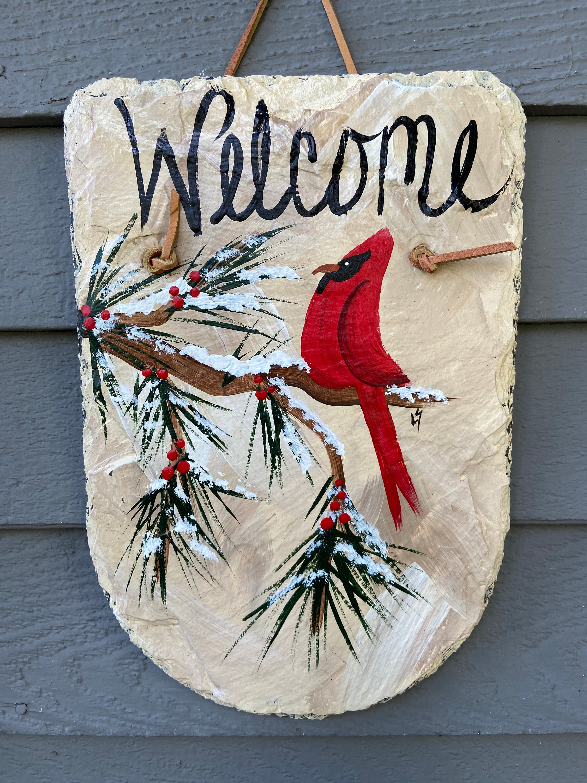 cardinal painted slate sign christmas