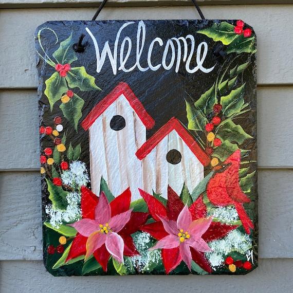 Painted slate tile, Christmas plaque, winter door hanger, Christmas door hanger, Poinsettias and cardinal, Painted slate, slate sign,