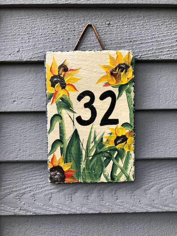 Sunflower Address Sign, House Number sign, Painted Slate Address Sign, House sign, Door hanger, Address sign for house, Address plaque