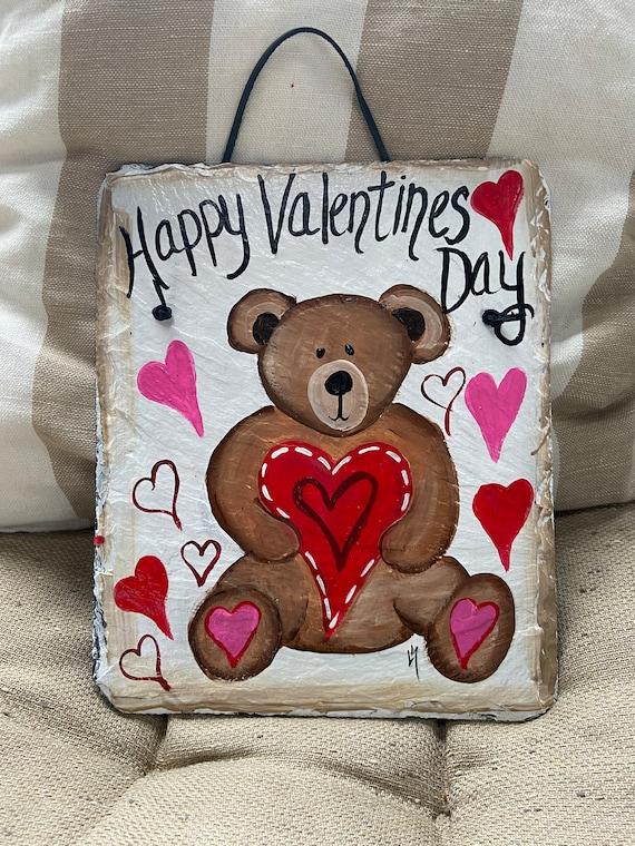Valentine's Day sign, Valentine's Day slate door hanger, Valentine's Day welcome sign, Valentine's Day decor, Slate Sign, Painted slate sign