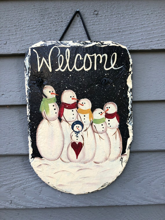 Slate Sign, Winter outdoor decor, winter door hanger, winter sign, snowman sign, painted slate, winter welcome plaque, winter door hanger