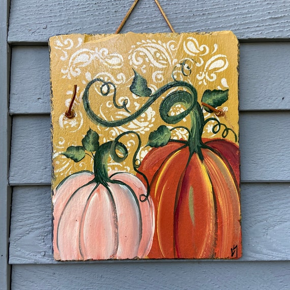 Fall slate sign, Slate sign,  Painted slate, Pumpkin slate tile, Thanksgiving door hanger, painted slate, painting on slate, porch decor