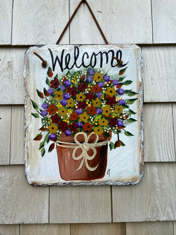 Painted Slate sign, Fall Welcome sign, Fall porch decor, Fall sign, Slate sign, Fall Slate Sign, Fall door hanger, Autumn welcome plaque
