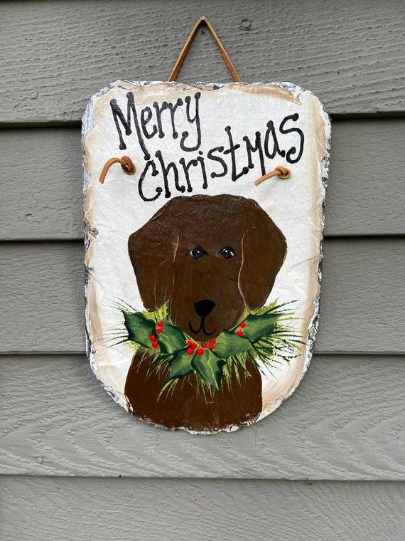 Christmas Slate Sign, Christmas front door decor, Painted slate, Christmas sign, Door decor, Slate Door hanger, Christmas Lab dog decor