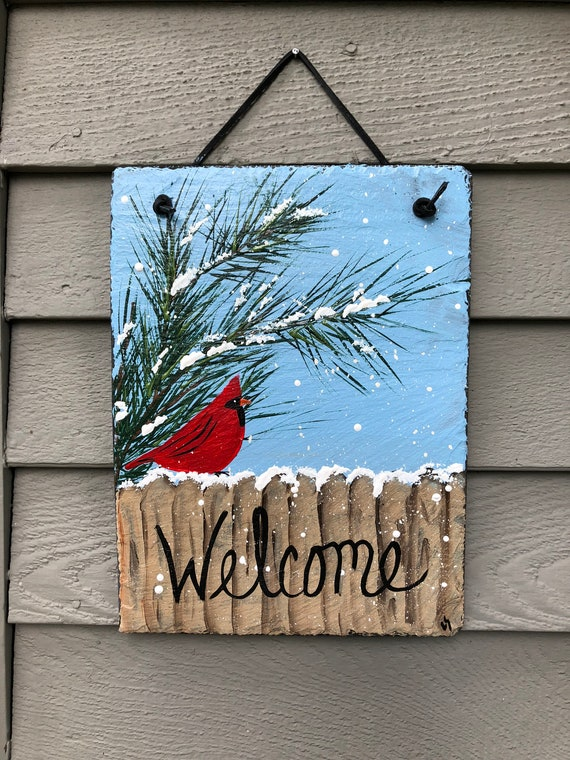 Slate sign, Painted slate, Cardinal Winter Slate Door hanger, Fall decor, Winter welcome sign, winter sign,  welcome sign, Cardinal in snow