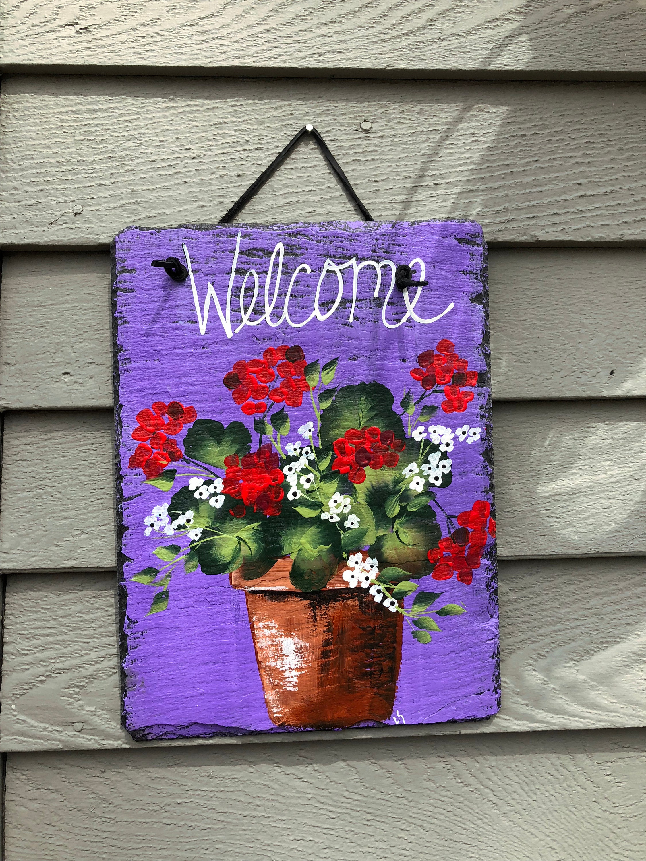 Spring Door Decoration Spring Door Hanger Red Geraniums Slate