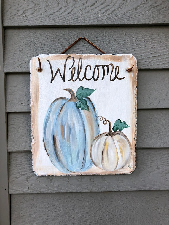 welcome sign, Fall Porch Decor, Painted slate, Fall decorations, Slate welcome sign, Autumn welcome plaque, slate sign, Fall slate sign