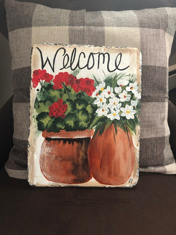 Spring porch decor, Hand Painted slate welcome sign, Floral door hanger, door decoration, Front Door decor, welcome sign, welcome plaque
