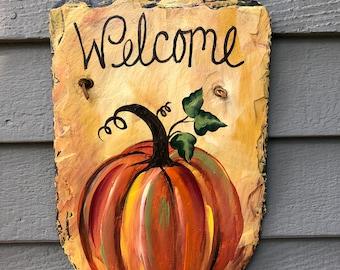 Slate plaque, Hand Painted slate sign, Fall sign, Autumn slate plaque, Fall painting on slate, Fall Door decor, Pumpkin sign, Painted slate