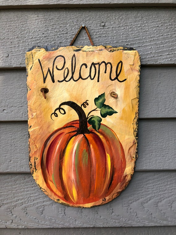 Slate plaque, Hand Painted slate sign, Fall sign, Autumn slate plaque, Fall painting on slate, Fall Door decor, Pumpkin sign, Painted slate