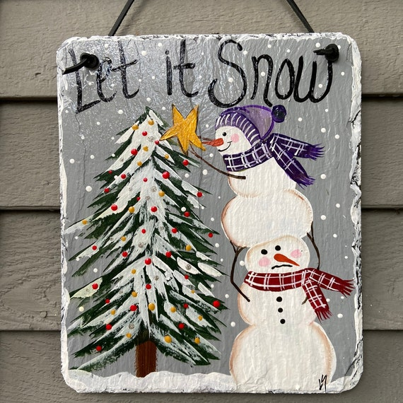 Painted slate sign, winter slate sign, winter door hanger, Snowmen slate sign, Winter sign, Painted slate, Christmas slate sign, slate tile