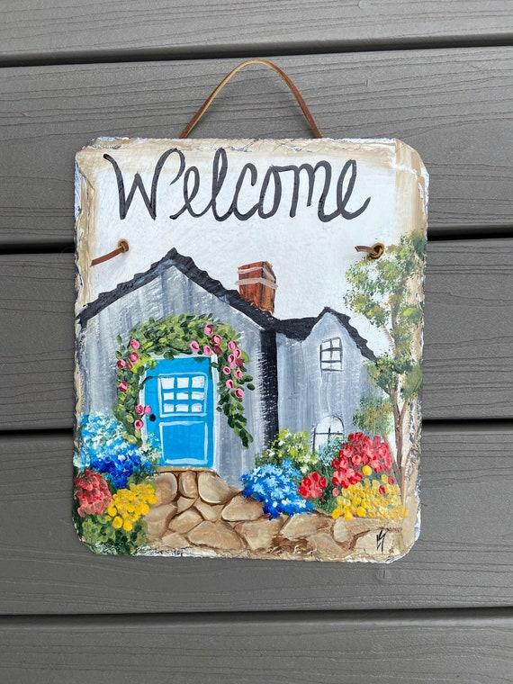 Garden sign, Welcome Sign, Painted Slate, Spring slate sign, Slate door hanger, spring door hanger, Door decor, Garden decor, porch decor