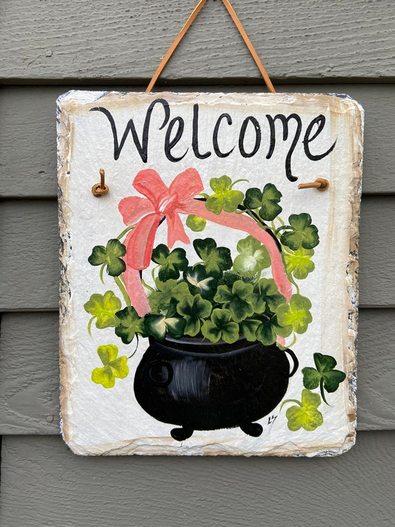 St Patrick's Day slate plaque, St. Patrick's Day Slate door hanger, Irish decor, Irish slate sign, St Patricks Day sign, Hand painted slate