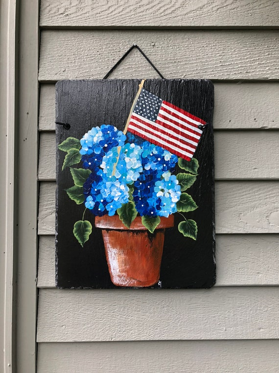 Hand Painted Slate, Patriotic spring door hanger, Patriotic door decoration, door hanger, Fourth Of July door decorations, July 4th decor