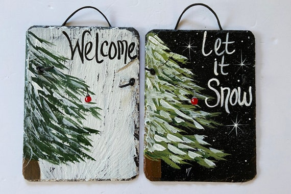 Christmas Tree slate sign, Painted slate sign, winter slate sign, winter door hanger, slate winter welcome sign, Painted slate, slate plaque