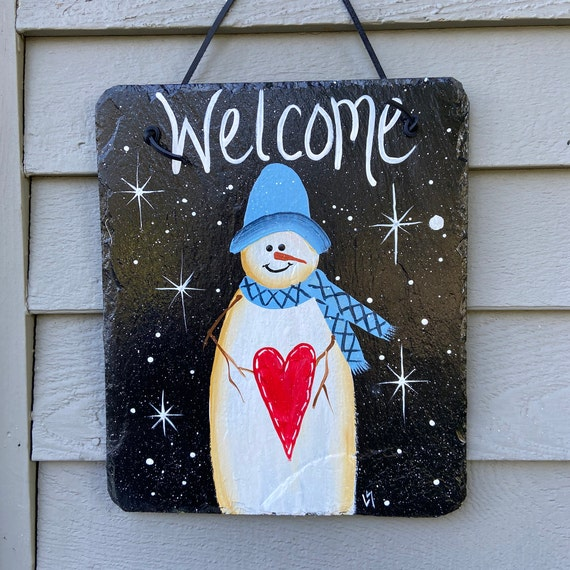 Hand painted slate sign, Slate welcome sign, welcome plaque, Winter door hanger, Snowman slate sign, Slate sign, Winter welcome plaque