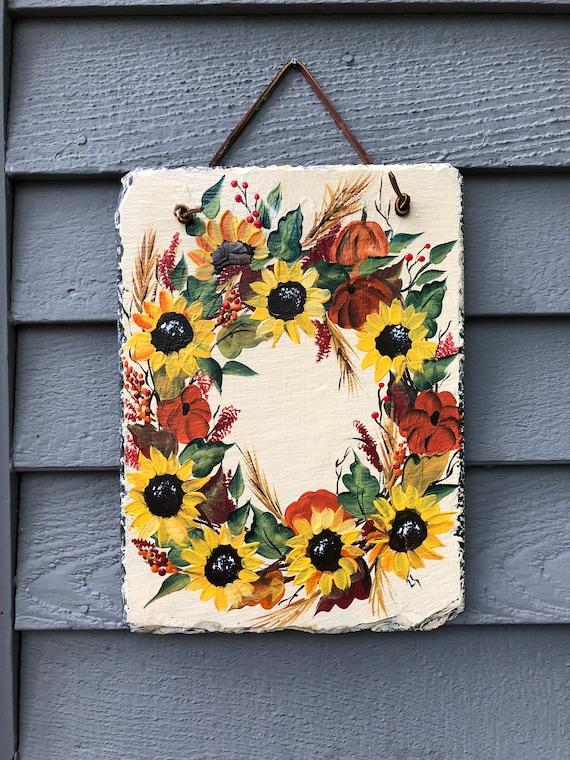 Sunflowers wreath slate sign, Painted slate tile, Fall door hanger, Painting on slate, Sunflower wreath, Painted slate, Welcome plaque