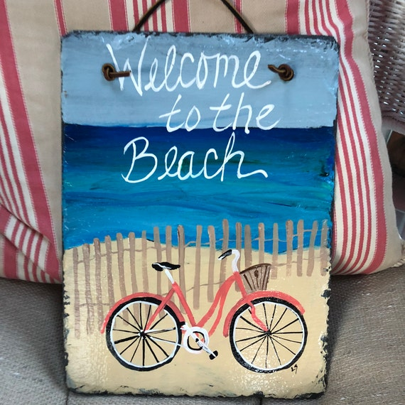 Summer slate sign, Welcome to the beach sign, Beach house decor, Painted slate, slate sign, painting on slate, Summer door hanger, beach