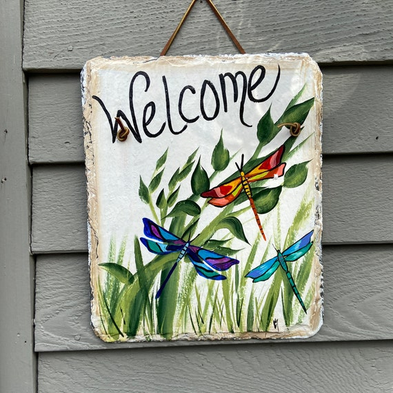 Hand Painted Slate sign, Spring Welcome sign, Dragonflies, Spring Slate Sign, summer door hanger, Painted slate, painting on slate, slate
