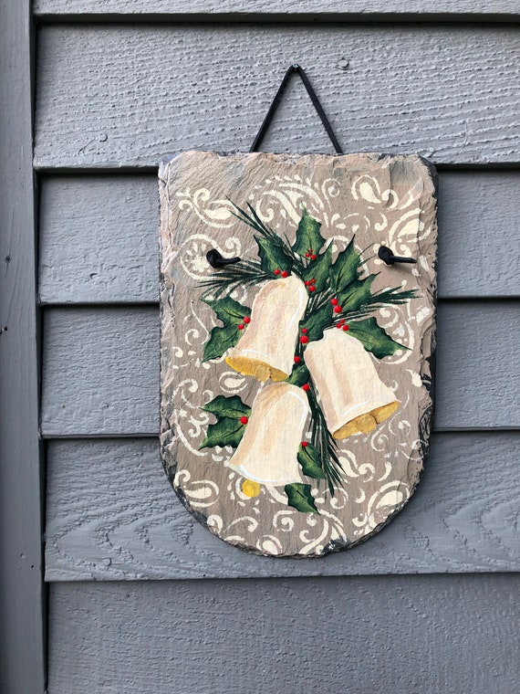 Painted Holiday Slate, Christmas slate, Painted Christmas decoration for outdoors, Holiday Door hanger, christmas decor, Slate sign