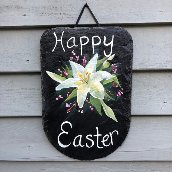 Hand Painted Easter slate sign, Easter door hanger, Painted slate, Easter door decor, Painting on slate, Spring slate sign, Easter sign,