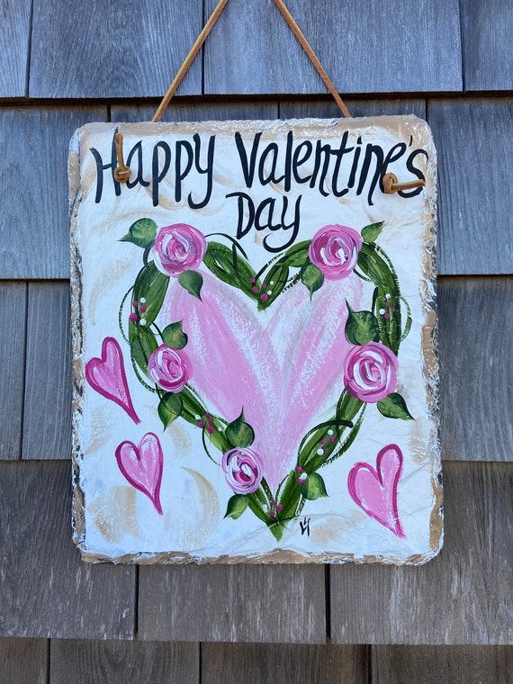 Valentine's Day slate sign, Valentine's Day slate door hanger, Valentine outdoor sign, Valentine's Day decor, Slate Sign, Painted slate sign