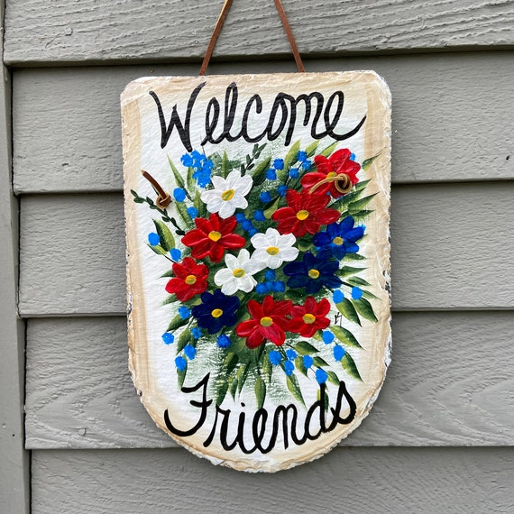 Patriotic slate sign, Summer Slate sign, July 4th welcome plaque, Painted slate, July 4th Door hanger, Deck Decor, Porch Decor, Slate sign