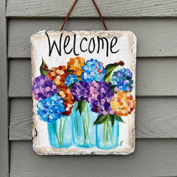 Hand Painted Slate sign, Spring Welcome sign, porch decor, Spring Slate Sign, summer door hanger, Spring slate, garden decor, slate sign