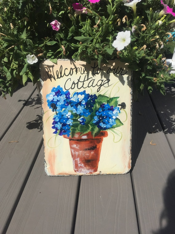 Welcome to our Cottage slate sign, 12 x 9  painted Slate, Door hanging, Welcome sign, coastal decor, Cottage decor, Blue hydrangeas