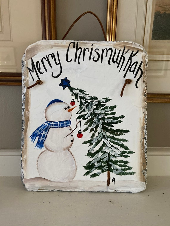Merry Chrismukkah sign, Painted slate, slate welcome sign, Merry Chrismukkah painted slate, Painted slate sign, Christmas and Hanukkah decor