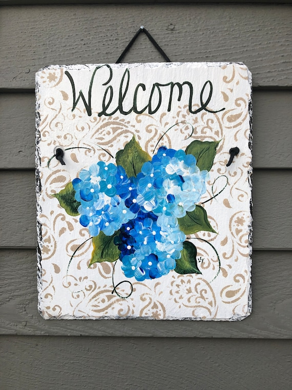 Painted slate Welcome sign, Summer door decor, Spring Door decoration, painted slate, Front Door decoration, slate sign, Beach house decor