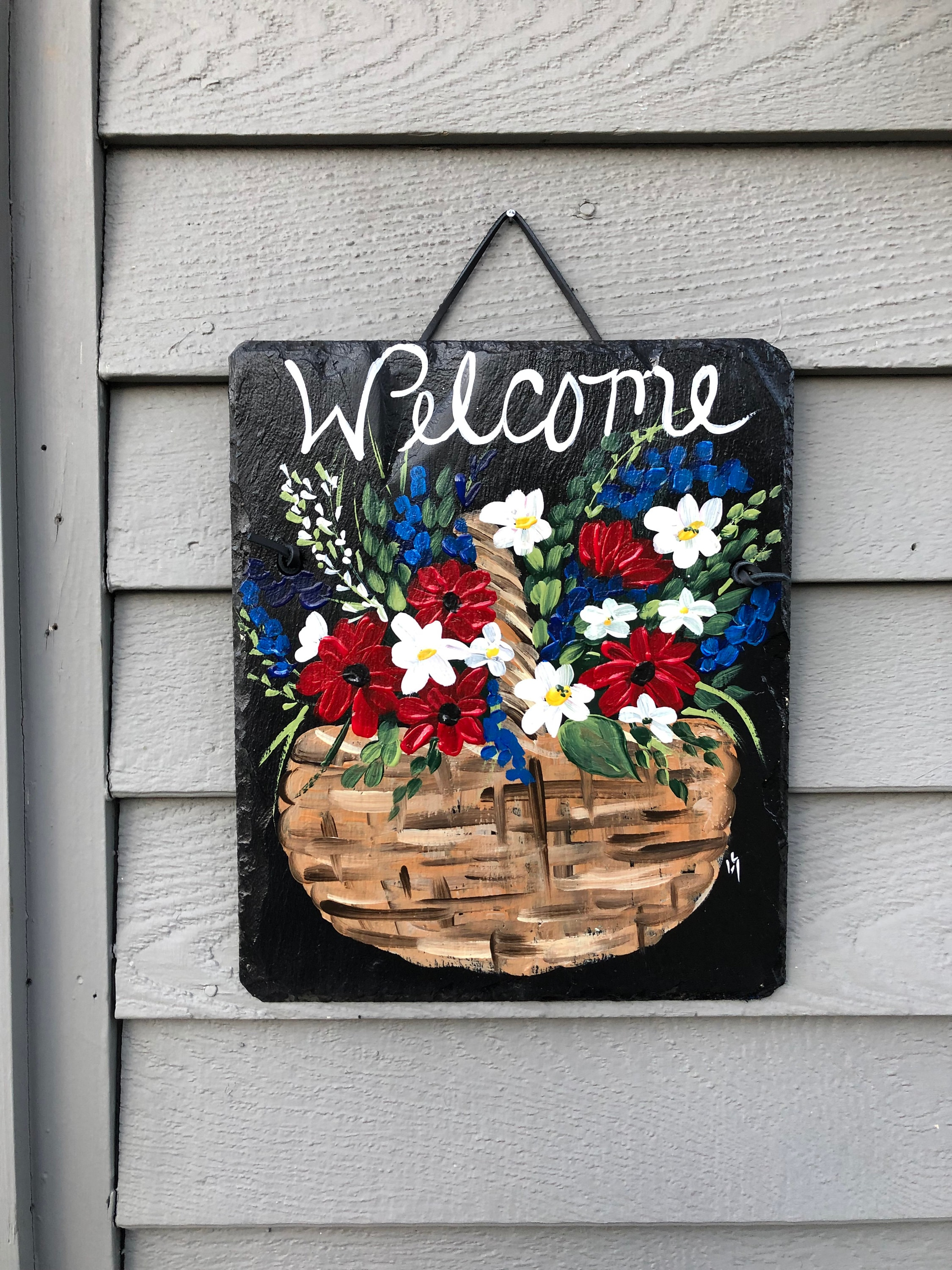 July 4th Painted Slate Welcome Sign Spring Decor Spring Door Decor Spring Painted Slate