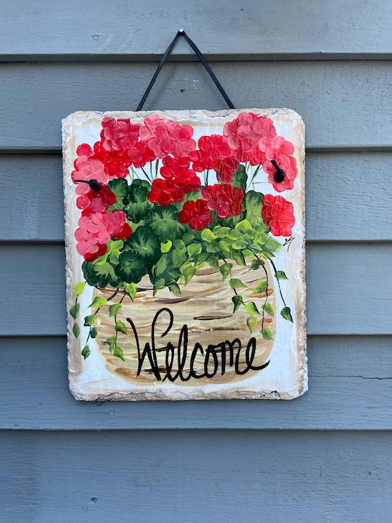 Spring Slate sign, Garden decor, Spring Welcome sign, Front door Slate, Spring Slate Sign, door hanger, Spring slate, Slate welcome plaque