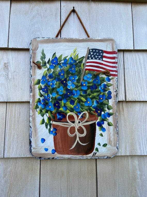 Patriotic slate sign, Summer Slate sign, July fourth welcome plaque, Painted slate, Summer Door hanger, Deck Decor, Porch Decor, Slate sign